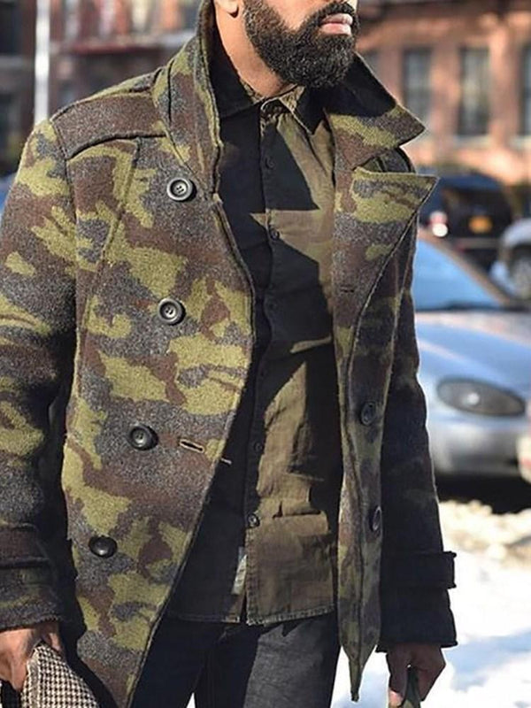 Button Camouflage Mid-Length A Line Double-Breasted Coat