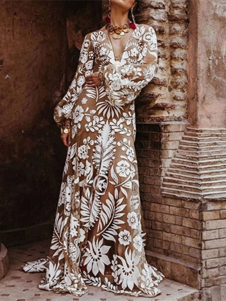 Long Sleeve Print Floor-Length Plant Lantern Sleeve Dress