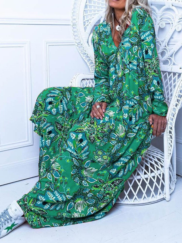 V-Neck Floor-Length Print A-Line Plant Dress