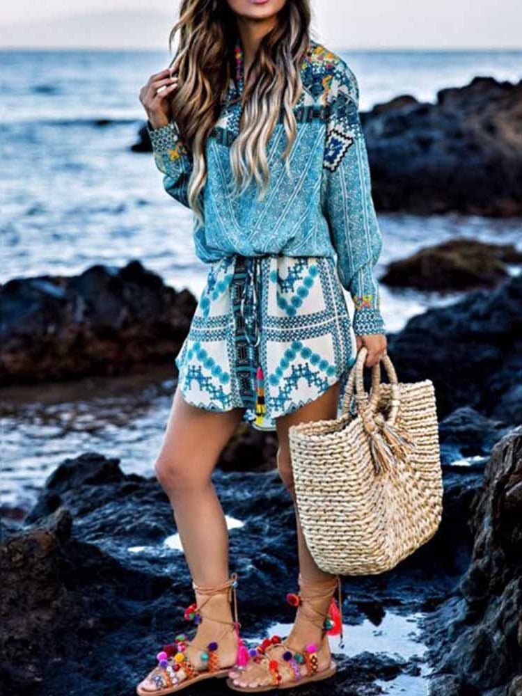 Long Sleeve Above Knee Summer Pullover Dress