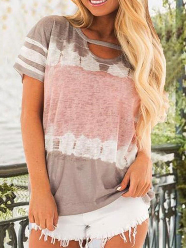 Standard Color Block Short Sleeve Casual Loose T-Shirt