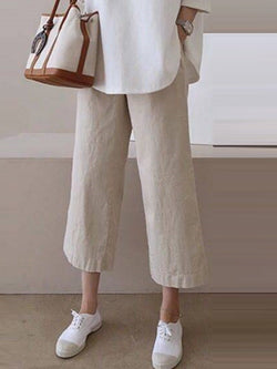 Plain Loose Ankle Length High Waist Casual Pants