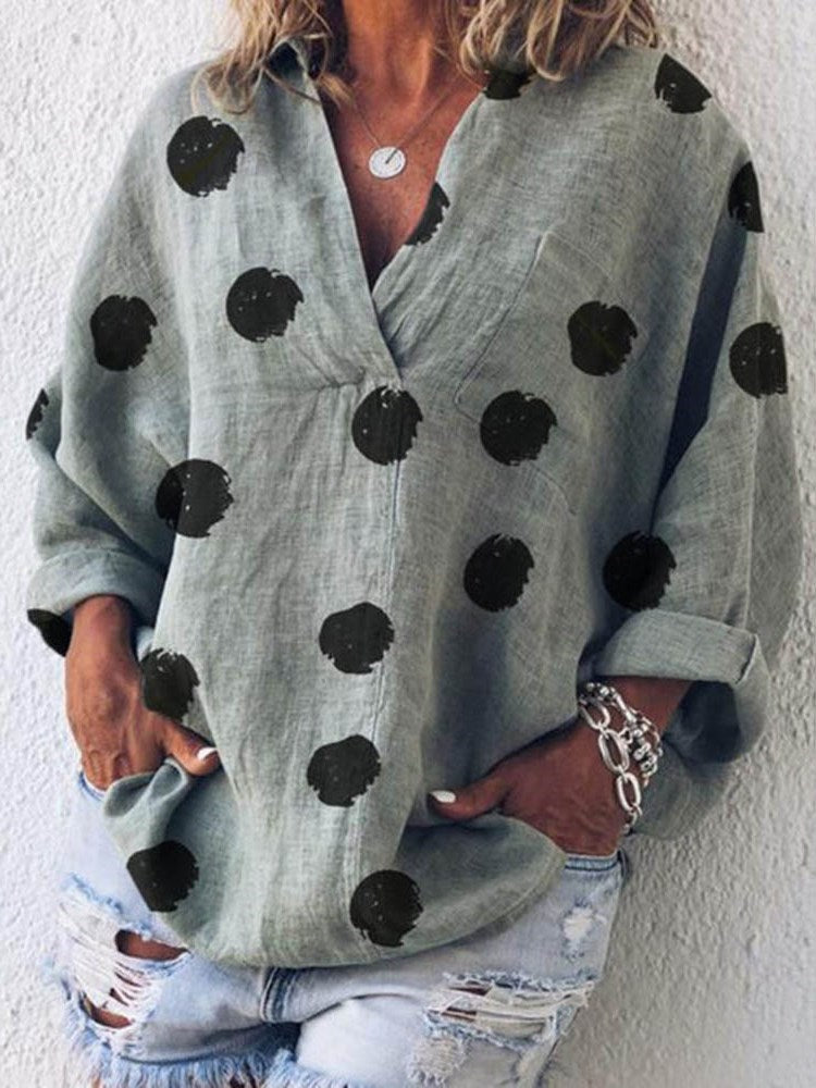 V-Neck Print Polka Dots Long Sleeve Standard Blouse