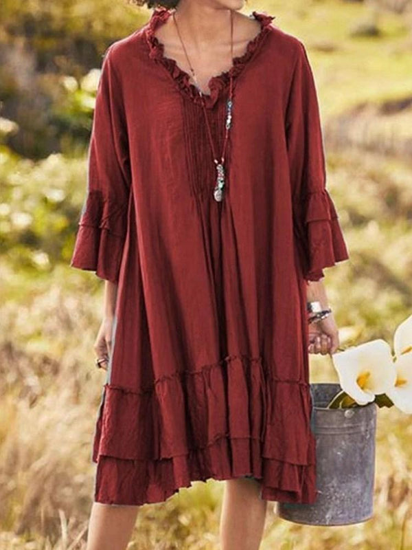 Stringy Selvedge Three-Quarter Sleeve Mid-Calf Low Waist Pullover Dress