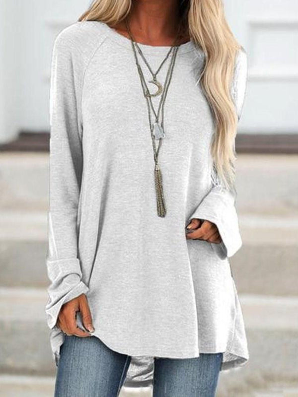 Mid-Length Plain Long Sleeve Loose Casual T-Shirt