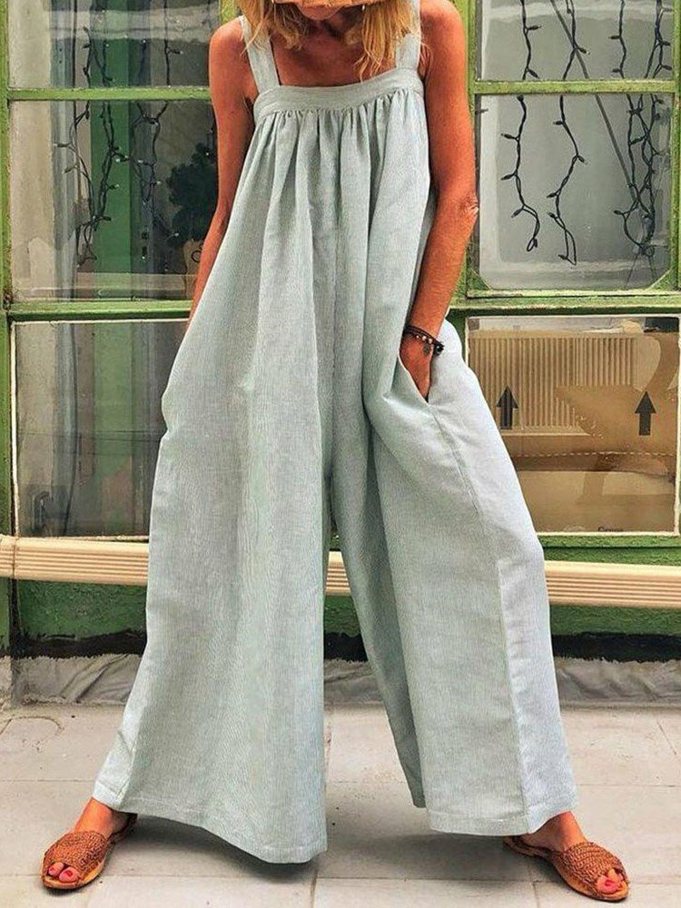 Plain Western Full Length Loose Wide Legs Jumpsuit