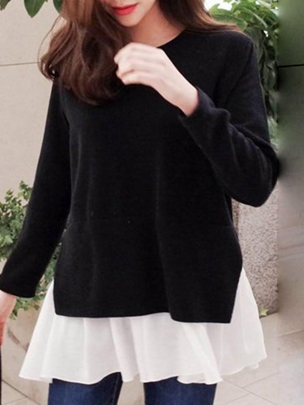 Round Neck Mid-Length Long Sleeve Fall Loose T-Shirt