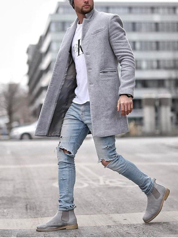 Mid-Length Plain Slim Fall Coat