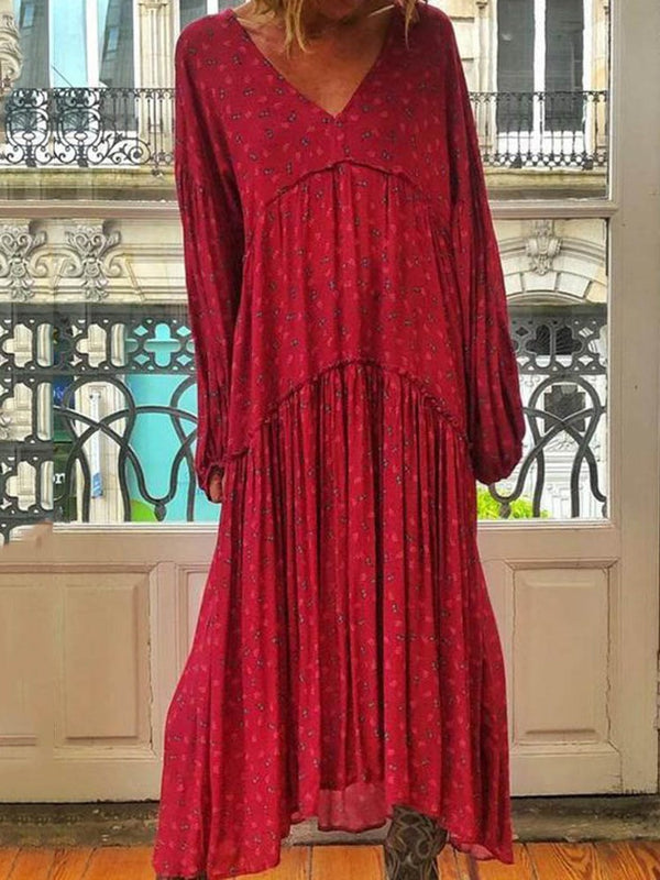 Pleated Ankle-Length V-Neck Plain Pullover Dress