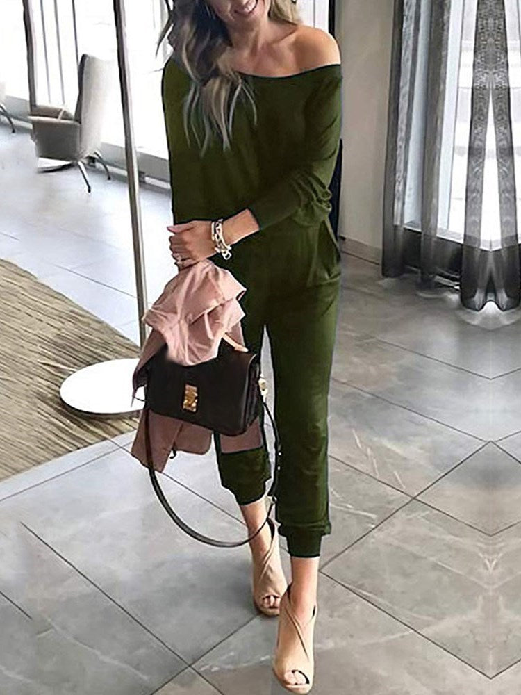 Plain Lace-Up Fashion Loose Harem Pants Jumpsuit