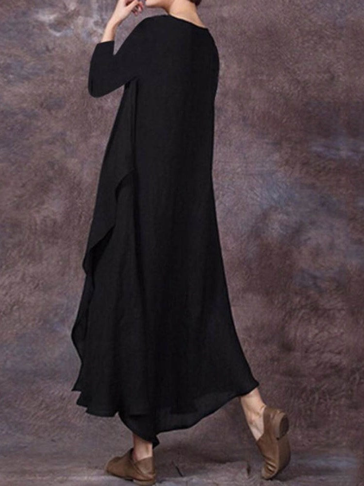 Three-Quarter Sleeve Round Neck Ankle-Length Expansion Plain Dress
