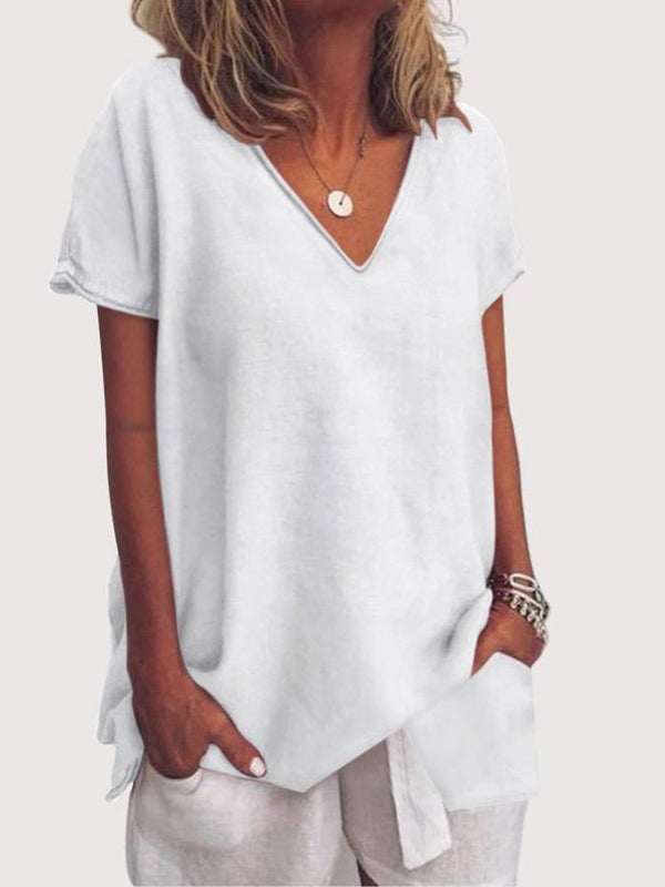 V-Neck Short Sleeve Mid-Length Casual Straight T-Shirt