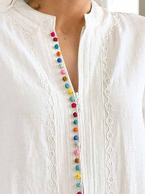 Mid-Length Three-Quarter Sleeve Blouse