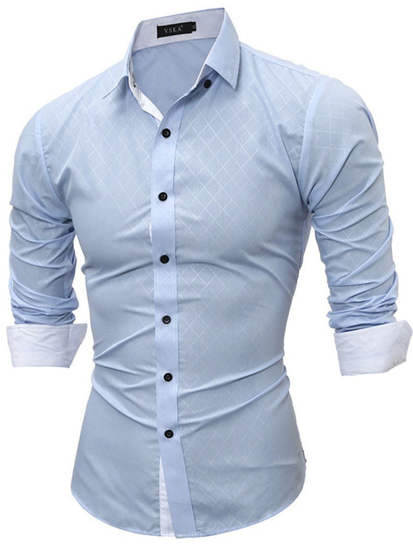 Lapel Plain Single-Breasted Slim Shirt