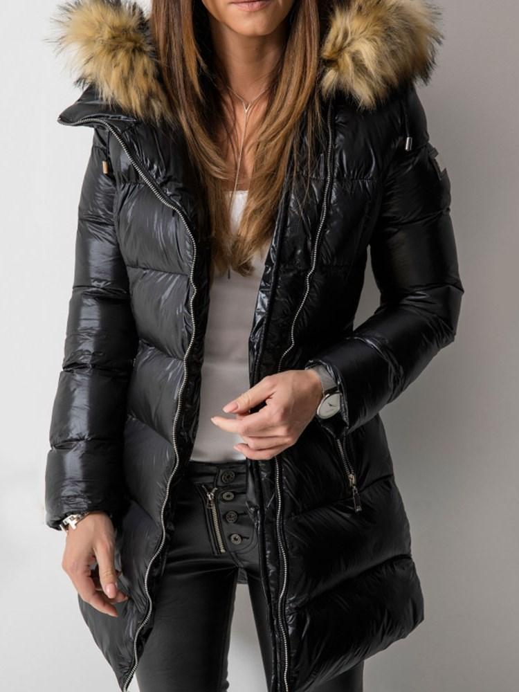 Patchwork Straight Zipper Mid-Length Cotton Padded Jacket