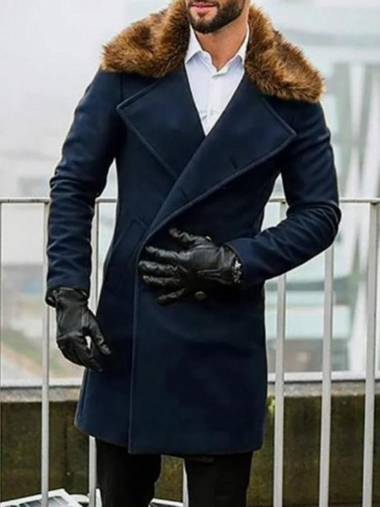Long Plain Pocket Double-Breasted Winter Coat