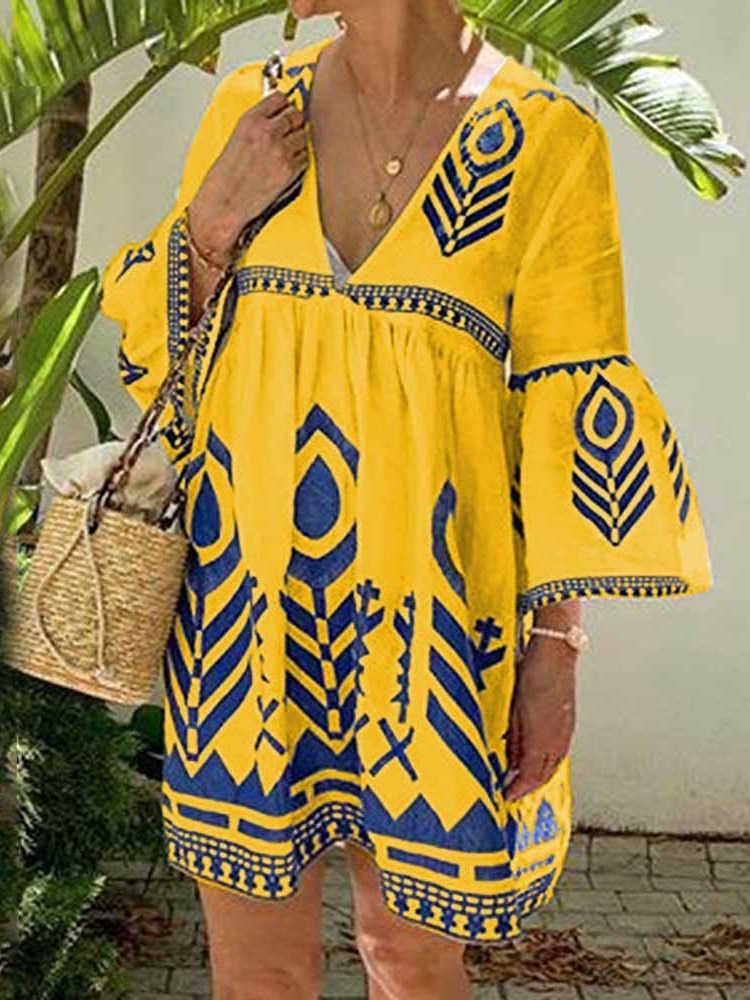 Above Knee V-Neck Print Pullover Summer Dress