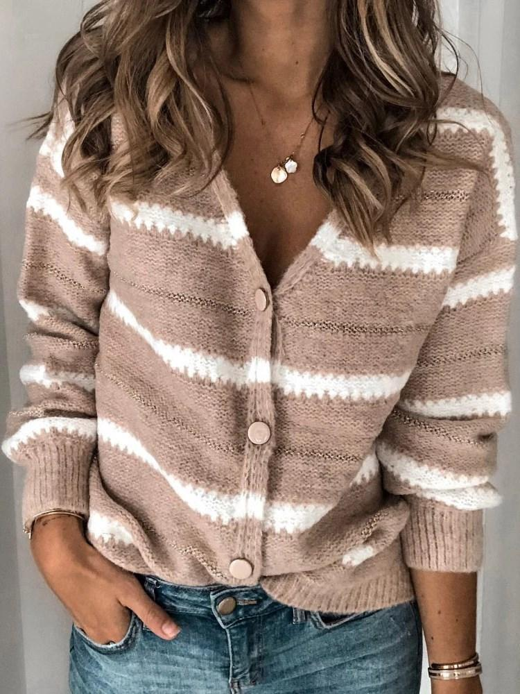 Regular Regular Single-Breasted Loose V-Neck Sweater
