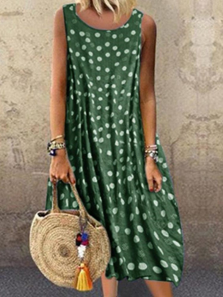 Print Mid-Calf Sleeveless Fashion Summer Dress