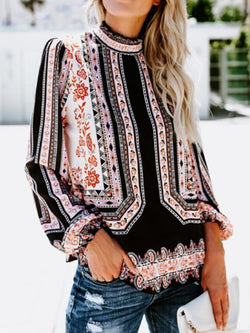 Print Color Block Stand Collar Standard Long Sleeve Blouse