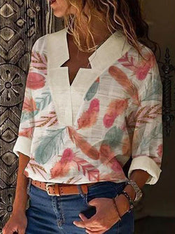 Print Color Block V-Neck Long Sleeve Mid-Length Blouse
