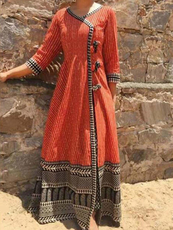 Floor-Length V-Neck Three-Quarter Sleeve Pullover Standard-Waist Dress