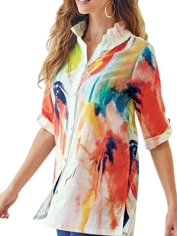 Color Block Falbala Half Sleeve Mid-Length Blouse