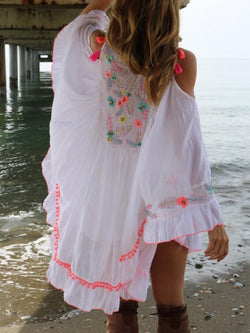 Embroidery Long Sleeve Above Knee Summer Expansion Dress