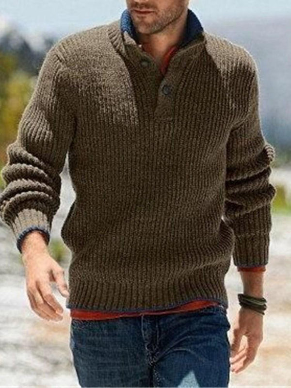 Color Block Stand Collar Standard Casual Winter Sweater