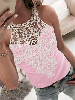 Polyester Lace Standard Tank Top