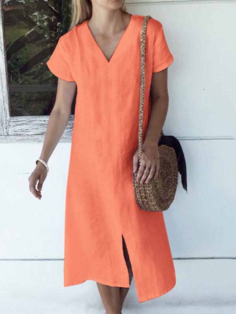 V-Neck Split Short Sleeve A-Line Plain Dress