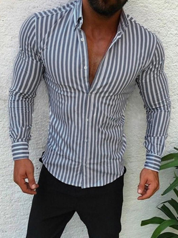 Stripe European Lapel Slim Fall Shirt