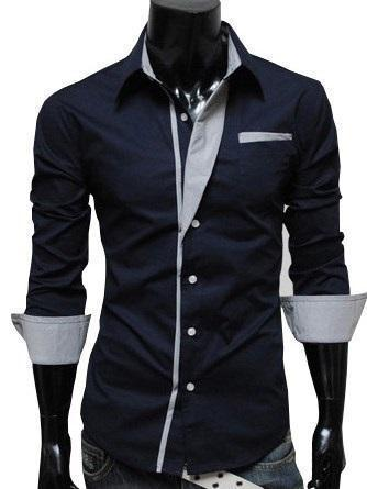 Color Block Patchwork Lapel Single-Breasted Slim Shirt