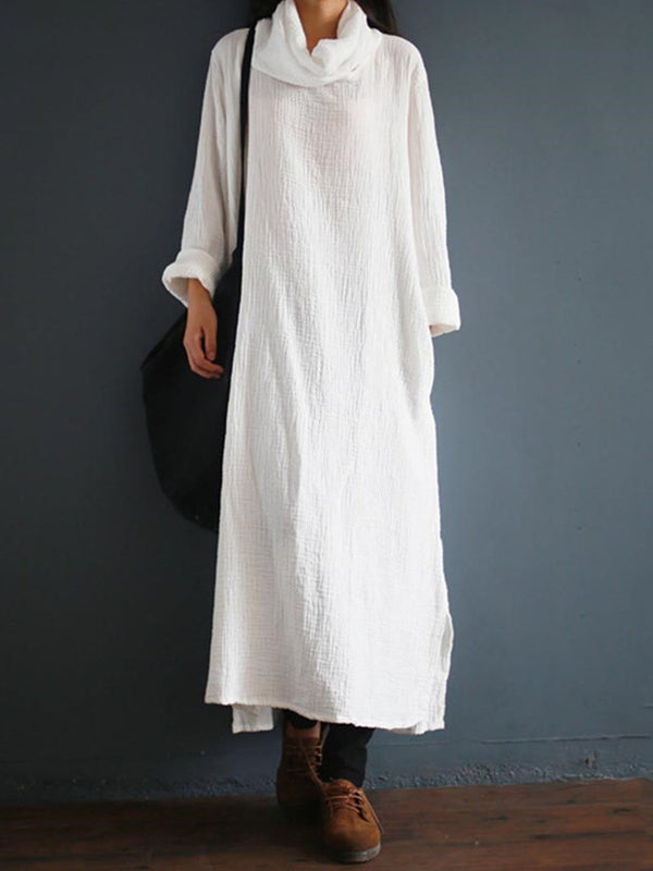 Ankle-Length Heap Collar Long Sleeve Pullover A-Line Dress