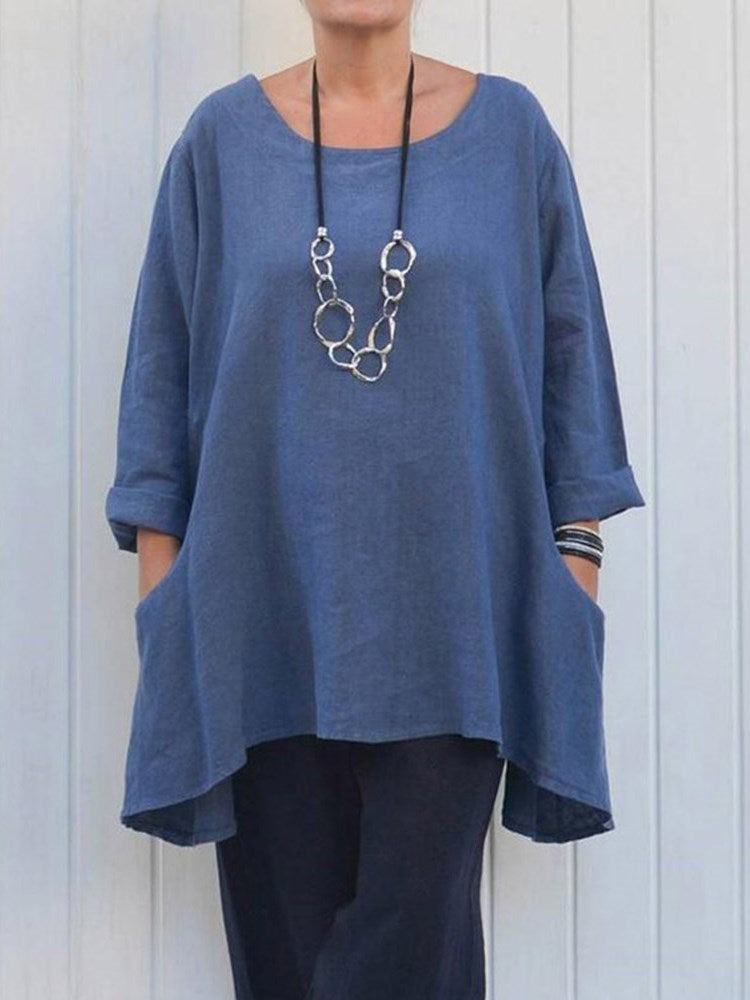 Plain Long Three-Quarter Sleeve Summer Loose T-Shirt