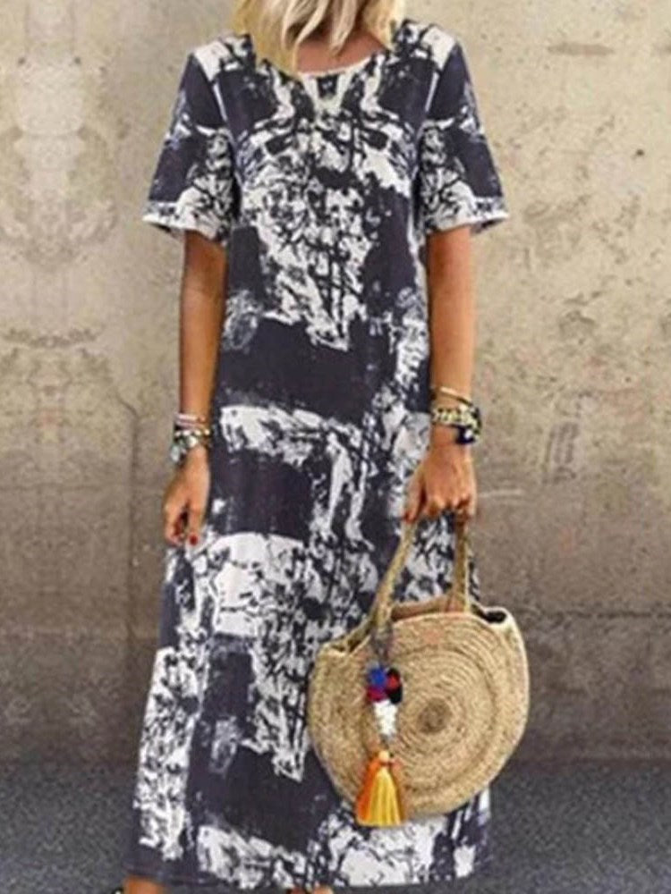 Short Sleeve Ankle-Length Round Neck Casual Regular Dress
