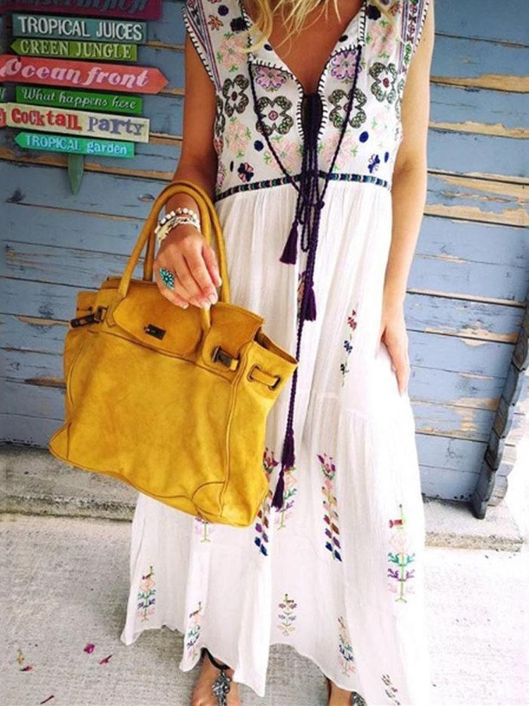 Lace-Up Sleeveless Ankle-Length Summer Floral Dress
