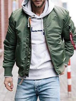 Stand Collar Zipper Plain Loose Casual Jacket