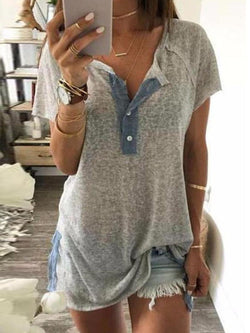 Short Sleeve Color Block Round Neck Casual Straight T-Shirt