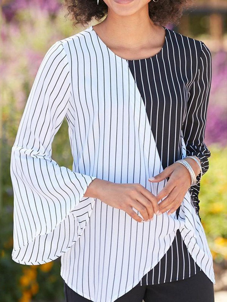 Color Block Patchwork Flare Sleeve Standard Three-Quarter Sleeve Blouse