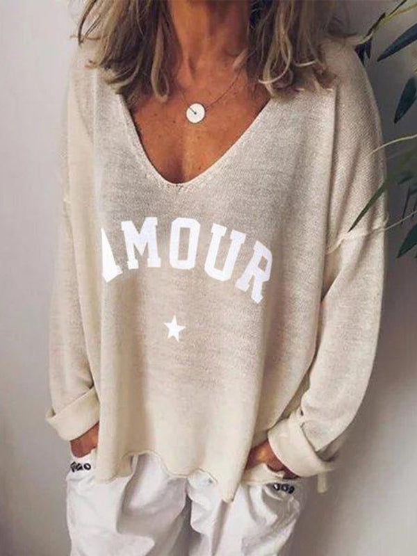 Long Sleeve Mid-Length V-Neck Casual Loose T-Shirt