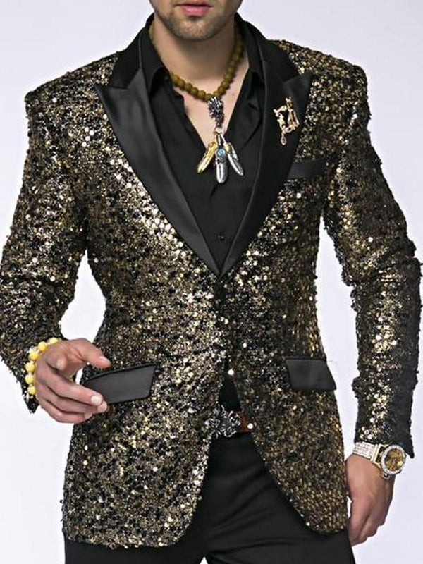 Sequins Notched Lapel One Button leisure Suit
