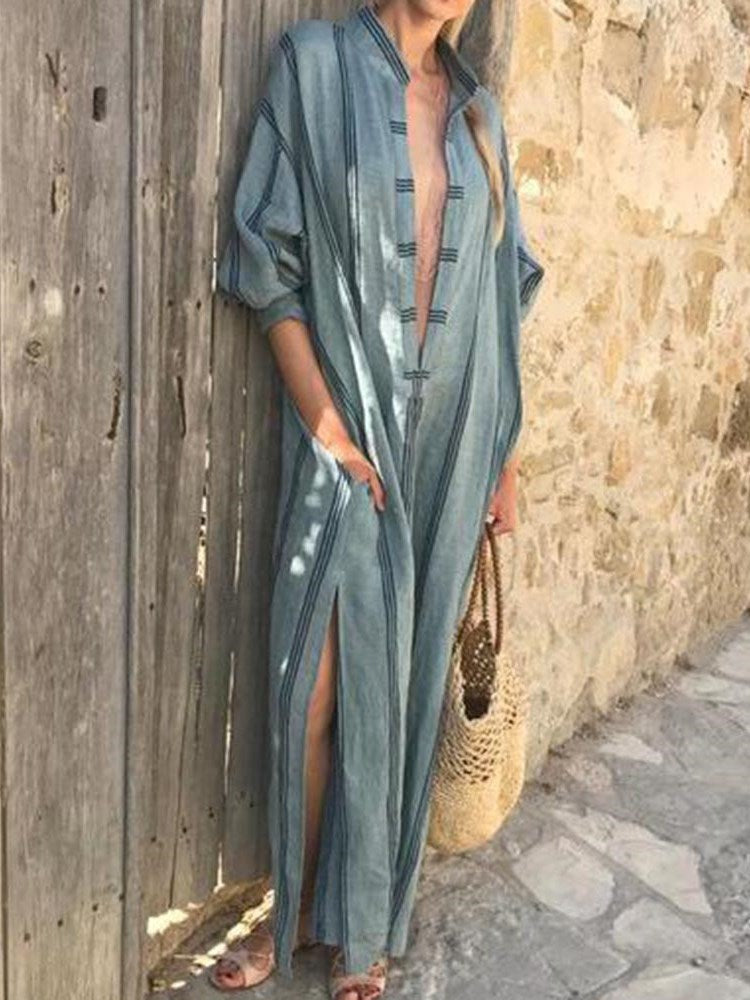 Ankle-Length Three-Quarter Sleeve Pullover Summer Dress