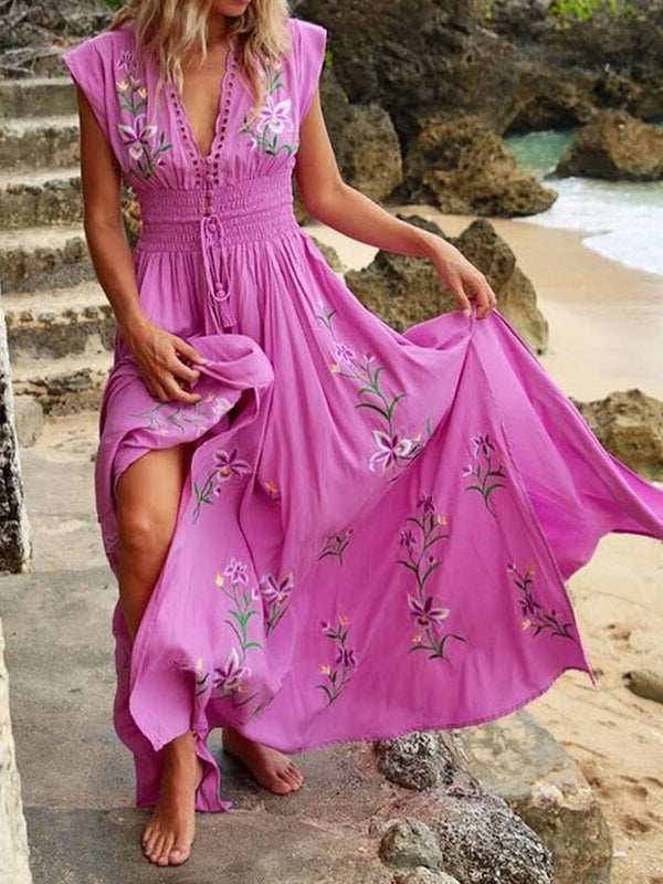 Cap Sleeve Floor-Length Embroidery Summer Casual Dress