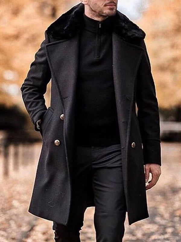 Plain Mid-Length Pocket A Line Fall Coat