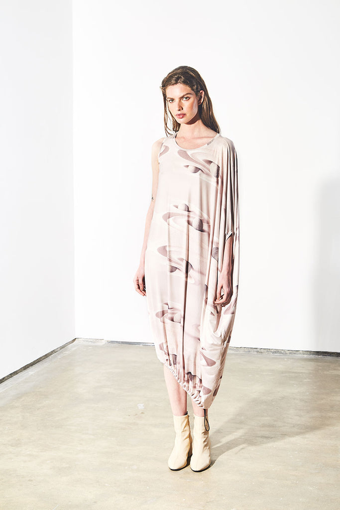ASYMMETRIC DRESS - NUDE SAND