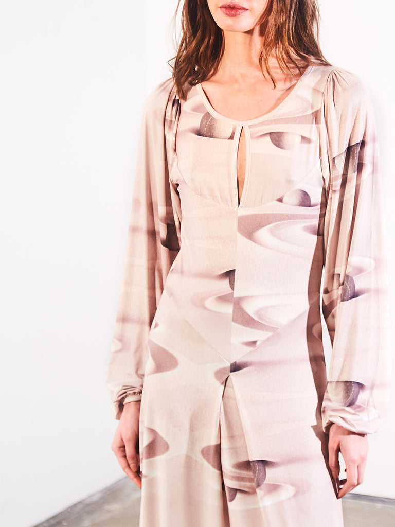 KEYHOLE COLLAR DRESS - NUDE SAND