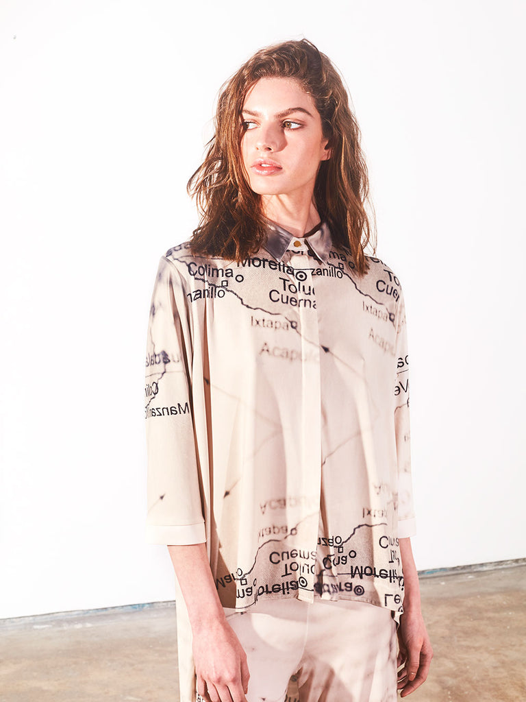 SHIRT COLLAR NECK MIDDY BLOUSE - MEXICAN MAP