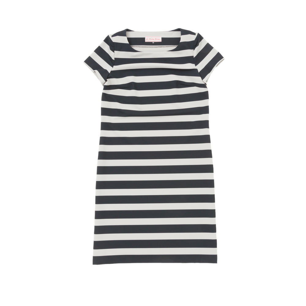 【1837】striped stretch sack dress