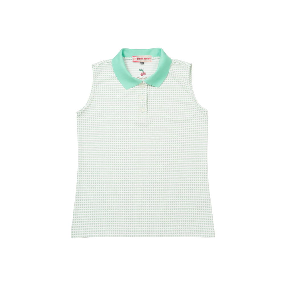 【80622】Knit Gingham Check sleeveless polo shirt